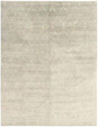 Hand-knotted Carpet 9and0392 X 12and0390 Transitional Light Grey Wool Rug