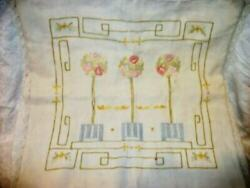 Antique Arts And Crafts Mission Embroidered Linen Pillow Cover Topiary Authentic