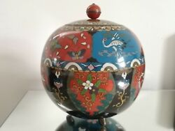 Spectacular Incredibly Large Rare Antique Japanese Cloisonne Vase And Cover
