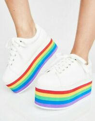 Comfy Rainbow Platform Sneakers Pure Taste My Rainbow Low Top Womens 8 With Box
