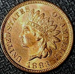 Awesome 1883 Indian Head Penny/cent Red Full Luster Coin. Very Choice Bu Gem Red