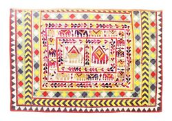 Vintage Embroidery, Vintage Embroidered Wall Hanging, Thread Work Tribal Home Dé