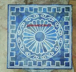 2and039x2and039 Blue Lapis Marble Table Top Coffee Center Inlay Room Home Decor Antique