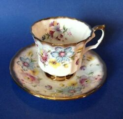 Elizabethan Pedestal Tea Cup And Saucer - Gold Borders - Blue And Purple Flowers