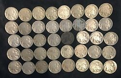 Roll Of 40 5c Circulated Buffalo Nickels Various Dates And Mint Marks 1917-1938