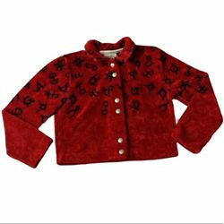 Vtg County Clothing Western Engraved Horse Button Cropped Fleece Jacket Size M