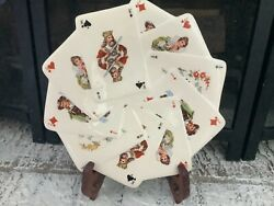 """1977 Vintage Rare Salad Dessert Plate Playing Cards """"victorian Style"""""""