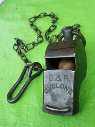 Vintage Brass Military Police Trench Whistle Bandr Cyclone Cork Ball + Metal Chain