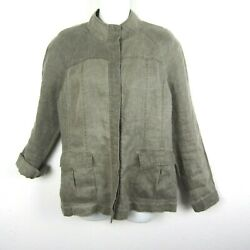 Eileen Fisher S Olive Green Linen Utility Short Jacket Button Stand Up Collar