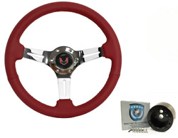 Red 14 Diameter Leather Wrapped Steering Wheel Kit 1969-1989 Firebird/trans Am
