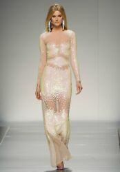 Blumarine Sheer Tulle Iridescent Sequin Embellished Dress Gown 42 6 Or 44 8