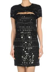 Roberto Cavalli Silk Sequin Jeweled Embellished Cut Out Open Back Dress 42 6