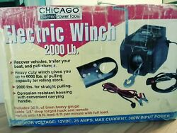 2000 Lb Chicago Electric Winch Heavy Gauge Cable, W/remote ,3/4 Drop Forged Hook