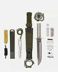 Hunting Knife  Sheath 12pc Large Ultimate Survival Tactical Bowie Fixed Blade