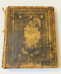 Antique Illustrated Polyglot Family Bible And Illust. Bible Dictionary Late1800's