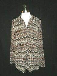 Chicoand039s Size 2 12 14 L Shirt Top Black Ivory Red Sparkles Long Sleeve Stretch