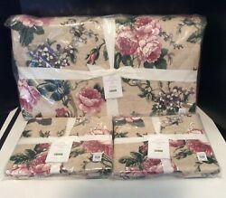 5pc Pottery Barn Adelise Floral Reversible Queen Quilt 2 Std 2 Euro Shams New