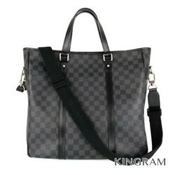 Louis Vuitton Damier Tadao N51192 Graphite Pvcx Leather Business Bag From Japan