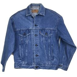 Leviand039s Jean Jacket Size Small Blue Mens Red Batwing Made In Usa 100 Cotton