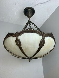 Antique 1910-20s Bradley And Hubbard Hanging Shade Fixture