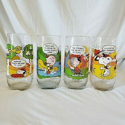 Vintage Mcdonalds Peanuts Camp Snoopy Collection Glasses Set Of 4 Charlie Brown