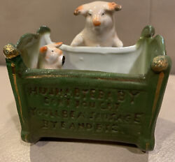 """Antique Victorian German Pig Pig Fairing Circa 1900 Mom And Baby In Crib 3""""x3"""""""