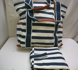 Pottery Barn Kids White Blue Diaper Bag And Pad Cotton Washable Tote