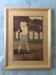 2 Vintage Hudson River Inlay Marquetry Wood Golfers Signed By Jeff Nelson 1997