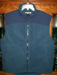 Duluth Trading Company Fleece Vest Blue Polyester With Nylon Overlay Menand039s Large
