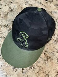 New Era 59fifty Official Mlb Chicago White Sox Black Camo Fitted Cap Hat 7 3/8