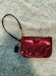 Wristlet Coach Designer Pink Sequence Small wallet  in great condition $24.99