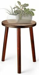 Litada Wood Plant Stand Mid Century Small Side Table 15.8'' Tall – Round Side...