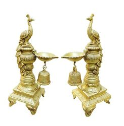 Vintage Brass Oil Lamp Peacock Pair Worship Hand Carving Home Decorative