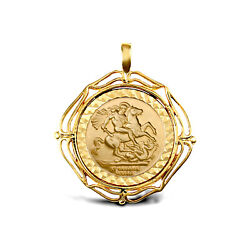 Jewelco London 9ct Gold Wavy Wings Frame St George Pendant Full Sov Size