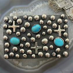 Chimney Butte Sterling Silver Turquoise And Cross Western Belt Buckle For Men