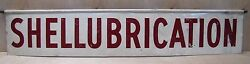 Shellubrication Orig Old Ad Sign 2 Sided Shell Gas Station Lube Auto Repair Shop