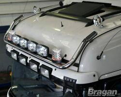 To Fit 2009+ Scania P G R 6 Topline Roof Bar+jumbo Led Spots X6+clear Beacons X2