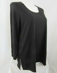 Slinky Brand Size 3x Black Scoop Neck Tunic With Long Sleeves And 7 Side Slits