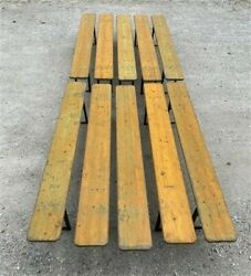10 Vintage German Beer Garden Benches Portable Industrial Wood Bench Seats 10a