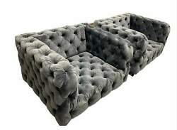 Modern + Large Tufted Contemporary Lounge Club Chairs / Armchairs A Pair