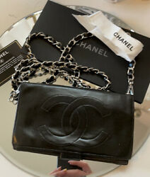 AUTHENTIC CHANEL Black Caviar Leather WOC Wallet On Chain Flap $900.00