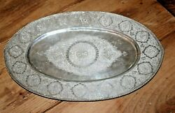 Antique Persian Islamic Middle Eastern Solid 875 Silver Tray Chased Engrave 16oz