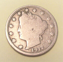 1912-s Liberty V Nickel / Fine Condition Lot La36 Great Coin, See Photos