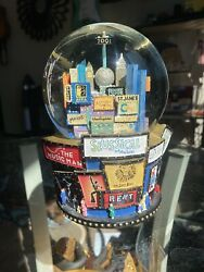 New York 2001 Broadway Musical Snow Globe With The Twin Towers Statue Of Liberty