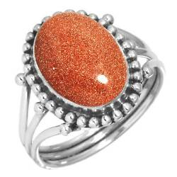 925 Sterling Silver Women Jewelry Gold Stone Ring Size 9.5 Yh46735