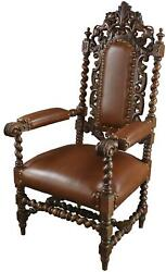 Arm Chair Antique French Hunting Renaissance Lions Brown Leather Oak Wood