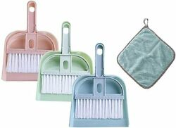 3 Pack Mini Hand Broom And Dustpan Set Dust Pans With Brush + Soft Cleaning Cloth