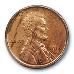 1915 S 1c Lincoln Wheat Cent Pcgs Ms 64 Rb Uncirculated Red Brown Tough Date
