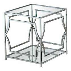 Best Master Furniture Mako Clear Glass End Table 22 Inch Silver Stainless Steel