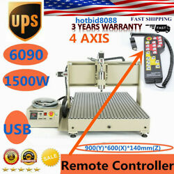 Usb 4 Axis 1.5kw 6090 Cnc Router Engraving Machine Woodworking Metal Cutter 3d
